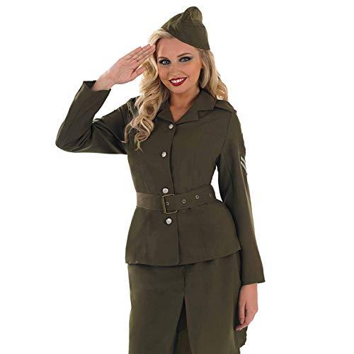 fun shack Womens WW2 Army Girl Costume Adults 1940s Wartime Military Uniform - Medium