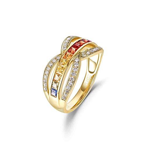 Aeici Anillos Oro amarillo 18k, Anillo De Compromiso Mujer Zafiro Diamante 0.904ct, Cuadrado, Talla 16