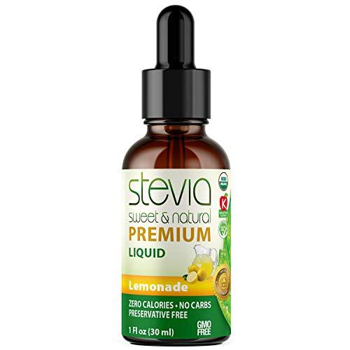 Lemonade Premium Quality Stevia Drops   Organic Liquid Stevia   Best Sugar Substitute  100% Pure Extract   All Naturally Sweet   Non-Bitter, 0 Calorie, NON-GMO, Diabetic & Keto Friendly (1oz)