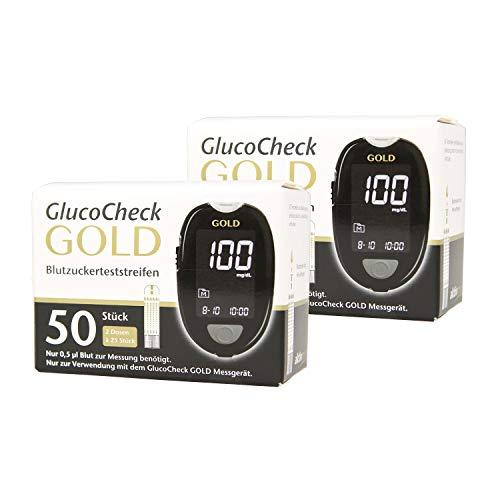 GlucoCheck GOLD - 100 Blutzuckerteststreifen zur Kontrolle des Blutzucker-Wertes - Anwendbar mit dem GlucoCheck GOLD Blutzuckermessgerät