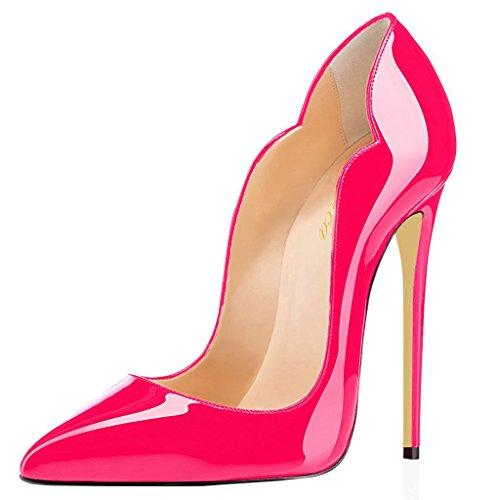 Lutalica Frauen Farbverlauf Spitz Lackleder Sexy Stiletto Heel Hochzeit Abend Pumps Schuhe Pfirsich Größe 40 EU