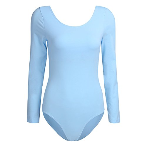 YiZYiF Damen Body Langarm Sportbody Ballett Trikot Ballettanzug Tanz-Body Gymnastik Leotard Tops Himmelblau Medium