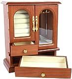 LIUTAO Caja de Almacenamiento de Joyas Organizador de joyería de 4 Niveles con 2 cajones extraíbles y Puertas de Vidrio Regalo para Seres Queridos cosmético-Color de Madera