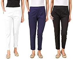 Q-rious Womens Cotton Lycra Trousers/Pants/Chinos
