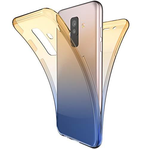 Galaxy A6 Plus 2018 fodral, ikasus [Helkropp 360 täckningsskydd] Gradient Co gulblå