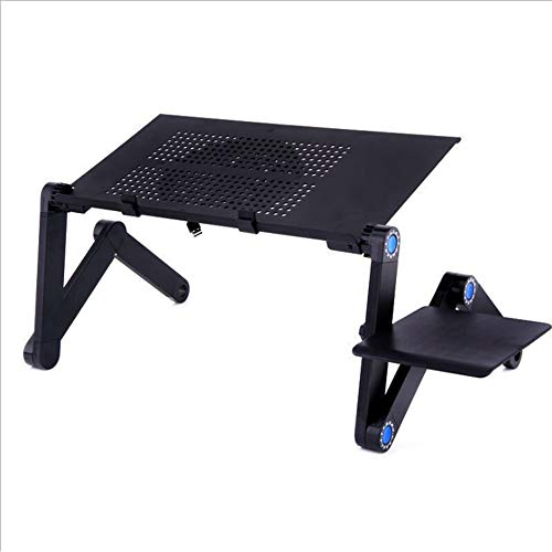 VIVICF Foldable Laptop Stand, Portable Laptop Desk Riser Adjustable Computer Laptop Table with Cooling Fan and Mouse Board for Bed Sofa