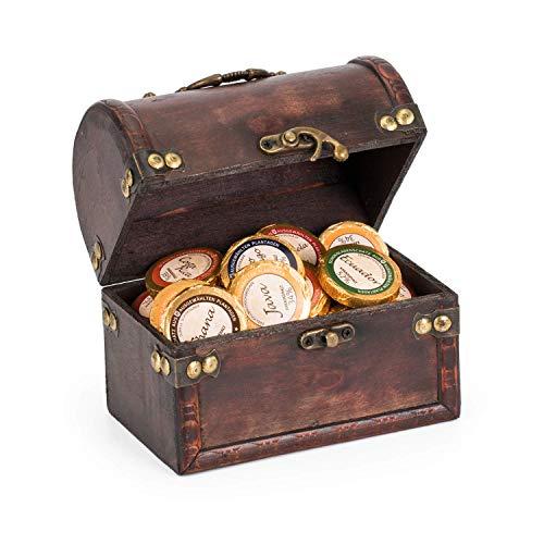 Edle Schatztruhe mit 36 Schokoladen Golddublonen von Dreimeister - Edelschokoladen Schatz - 288g