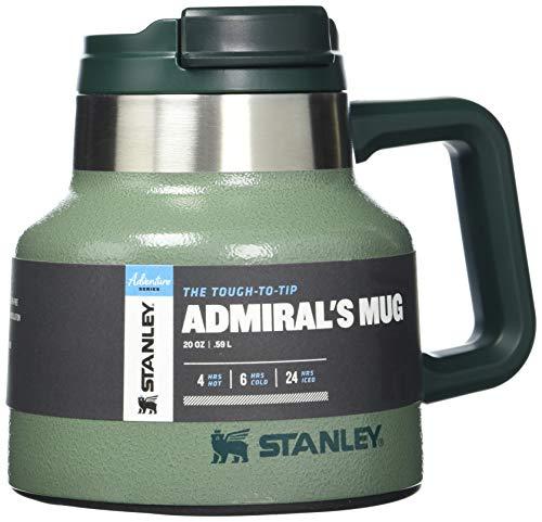 Stanley Unisex-Erwachsene The Tough-to-Tip Admiral's Mug 20oz Hammertone Green Becher, Hammerschlaggrün