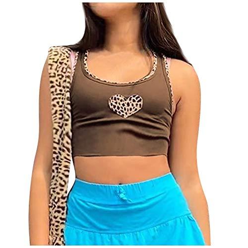 Binggong Neu Spleißen Rundhals ärmellose Weste mit Binde Casual Y2K E-Girl Tops Bluse Streetwear Mädchen Damen Grafikdruck Crop Tank Top, Sommer Mode Trend Style