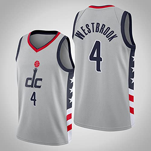 Camisetas de baloncesto para hombre, Washington Wizards # 4 Russell Westbrook City Edition Malla bordada Chaleco clásico transpirable Uniformes Camiseta sin mangas cómoda Tops,Gris,L