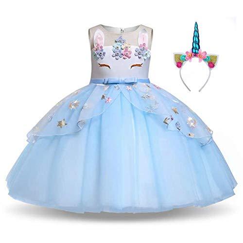 Meisjes Eenhoorn Party Outfit Prinses Dress Up Kostuum met Hoofdband en Eenhoorn Tutu Bloemen Rok
