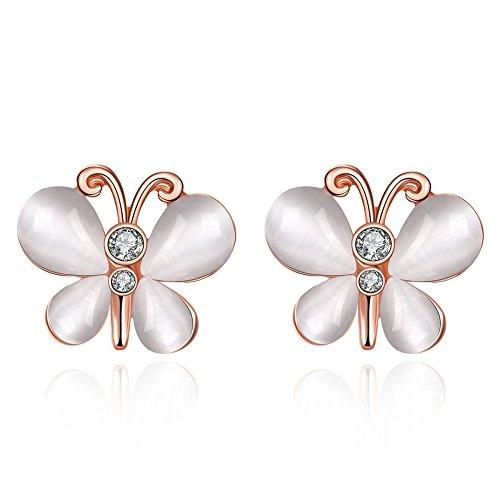 FushoP Opal Piedras Preciosas cúbicos Zirconia Butterfly Stud Earrings (Oro de Rose Plateado)