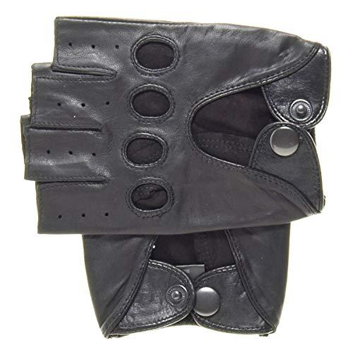 Barcelona Men's Shorty Leather Driving Gloves (Fingerless) Black Size M