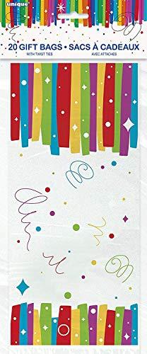 Unique Party - 49573 - Paquet de 20 Pochettes - Cadeau en Cellophane Anniversaire Nœuds Arc-en-Ciel