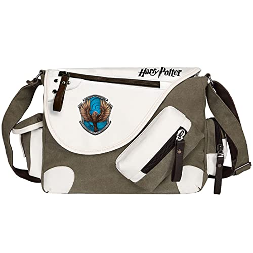 QLma Primary and middle school students shoulder bag fashion casual messenger bag Ravenclaw book bag 35x26x11cm Green