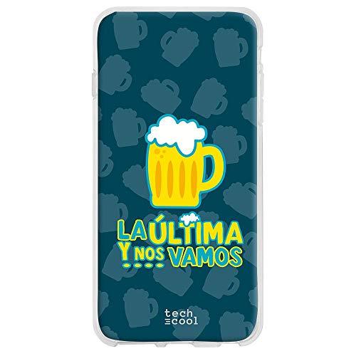 Funny tech® beschermhoes van siliconen voor Motorola G8 Plus [flexibele siliconengel, exclusief design] spreuk humor bier het laatste en ons Vamos achtergrond blauw