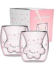 Surenhap Filiżanka do kawy Cat Paw Mug Cat Claw Design z podwójnymi ściankami filiżanka mleko sok latte macchiato szklanki do drinków (2 szt.)