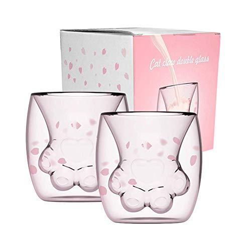 Surenhap Kaffeetasse Cat Paw Mug Katzentasse Cat Claw Design Doppelwandige Tasse Milch Saft Latte Macchiato Longdrink Gläser (2PCS)