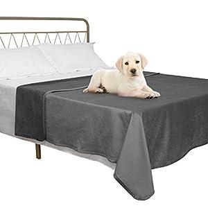 fuguitex Waterproof Dog Blanket for Bed Dog Bed Cover Starry Crystal Velvet Blanket Plush Fuzzy Cozy Pet Blanket for Dog Throw Blanket for Couch Sofa(82″ 80″,Light Grey+Grey)