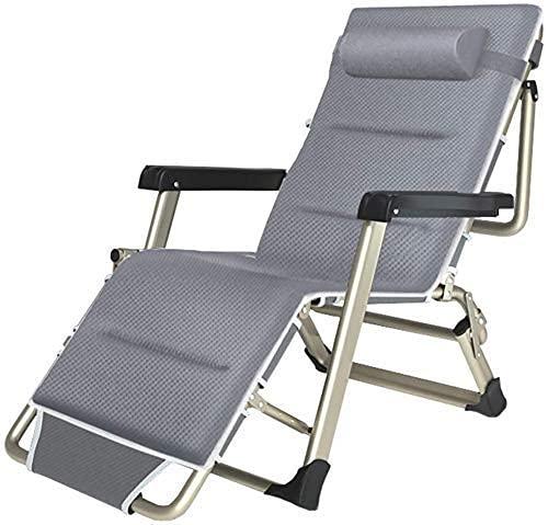 XXSHN Silla de jardín reclinable Zero Gravity Silla de jardín Plegable Tumbona para Playa al Aire Libre Patio Camping Ocio Silla Relajante MAX. Capacidad de Carga 250 Kg - Gris