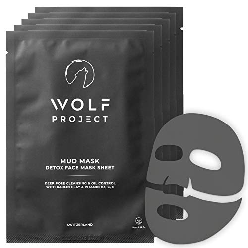 WOLF PROJECT   Men's Mud Sheet Mask For Face - Box of 5 - Pore Cleaner and Oil Control - Clarifying, Blackhead Removing, Korean Face Mask with Vitamin B3, C, & E