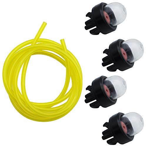 TXErfolg 4 Stück General Snap-In Primer Kraftstoffbirne und 1 Stück Kraftstoffschlauch aus PVC 2,5 mm×5,5 mm×1,5 m für Rasenmäher Gebläse Stihl Weed Eater McCulloch Ryobi Echo