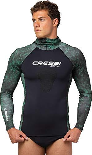 Cressi Cobia Hunter Camiseta Rash Guard con Capucha para Deportes acuáticos, con protección para el esternón, Unisex-Adult, Verde Camuflaje, M