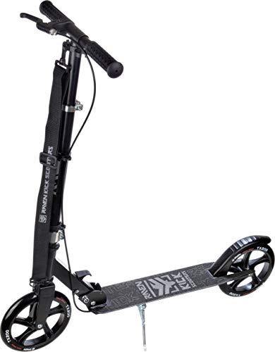 RAVEN Scooter, Roller, Tretroller, Kinderroller, Cityroller Straight 200mm mit Handbremse (Black/Silver)