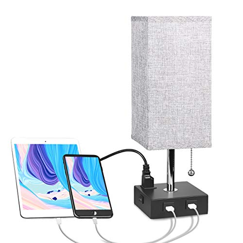USB Bedside Table Lamp with Outlet, Aooshine Modern Nightstand Lamp with 2 Useful USB Ports & One Outlet, Grey Fabric Shade Ambient Light Desk Lamp for Bedroom, Guest Room or Office