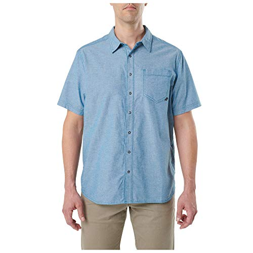 5.11 Tactical Men's Cotton Button-Down Ares Short Sleeve Shirt, Lake, Large, Style 71372