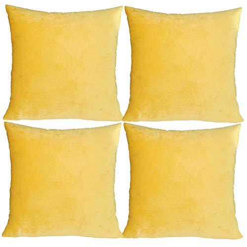 JOTOM Velvet Soft Soild Cushion Cover Square Throw Pillow Case for Home Bed Sofa Decor 45 x 45cm,Set of 4(Bright Yellow)