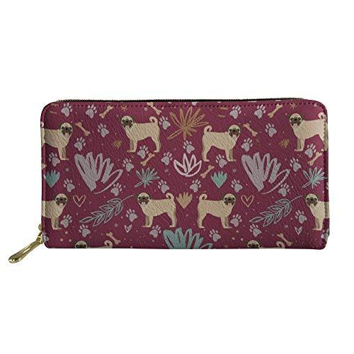IUBBKI Carteras de Piel Carteras de Mujer Dog Pattern Women Long Wallet PU Leather Floral Clutch Purse Card Holder
