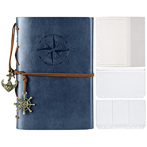 MALEDEN Classic Spiral Bound Notebook - Diario di viaggio ricaricabile con pagine a righe e tasche per la scrittura per ragazze e ragazzi