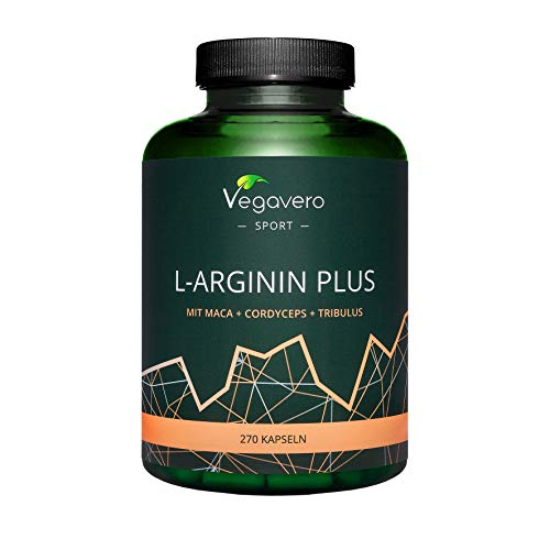 L-Arginine 1500 mg Vegavero | 270 Capsules | The Only One Without Additives | with Tribulus Terrestris + Cordyceps + Maca + Zinc + Vitamin C | Vegan | High Strength Booster for Men
