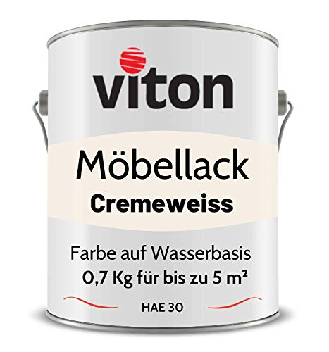 VITON Möbellack - 0,7 Kg - Seidenmatt Weiss - Umweltfreundlicher Möbellack auf Wasserbasis - 2in1Holzfarbe & Holzanstrich für Innen und Außen - Für Holz, Metall & Kunststoff - RAL 9001 Cremeweiss