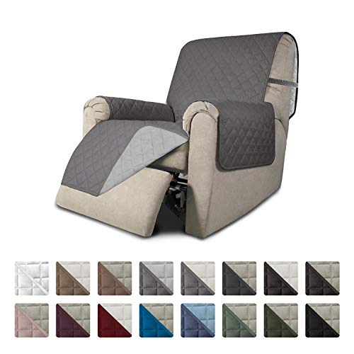 Easy-Going Recliner Sofa Slipcover Reversible Sofa Cover Furniture Protector Couch Shield Water Resistant Elastic Straps Pets Kids Children Dog Cat (Recliner, Gray/Light Gray)