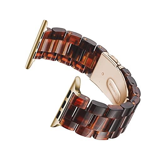 Hspcam Correa de resina para Apple Watch 44mm banda para iwatch 42mm Series 6 5 4 3 2 1 Reloj de pulsera Accesorios bucle 38mm pulsera reemplazo 40mm (38mm 40mm, miel oscura)