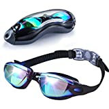 EMIUP Swimming Goggles Adult, Anti Fog UV Protection No Leaking Swim Goggles with Free Protection Case for Men Women Youth Kids(Over 6 Years Old), Black with Colorful Mirrored Lenses