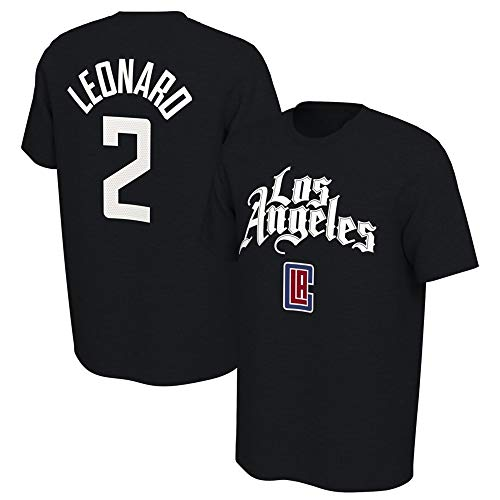 Dybory Camiseta De Manga Corta para Hombre, Los Angeles Clippers # 2 Leonard tee Camisetas Juveniles City Edition, Cómodas Y Transpirables,Negro,3XL