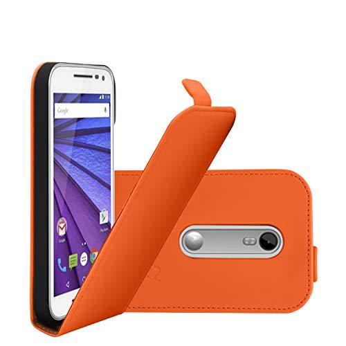 COOVY® Cover für Motorola Moto G (3. Generation Model 2015) Slim Flip Hülle Tasche Etui inklusive gratis Bildschirmschutzfolie | Farbe orange