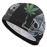 Marihuana-Blatt-Schwimmen-Sommer-Strand-Hosen Unisex Swim Cap Ear Cover for Long Hair - Durable Waterproof Swimming Cap for Adult Youth