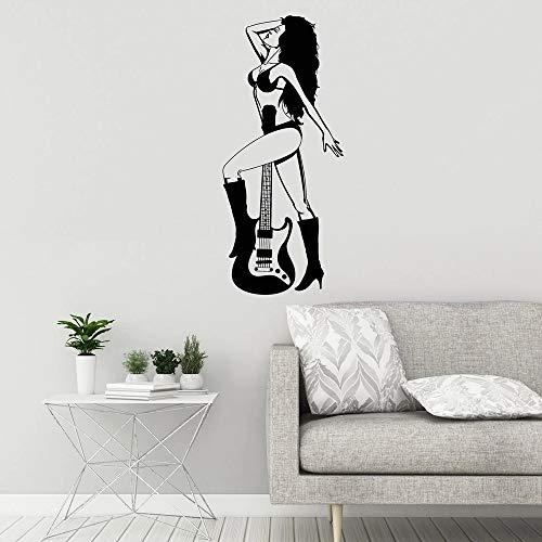 Vinilo decorativo guitarra mujer música papel pared