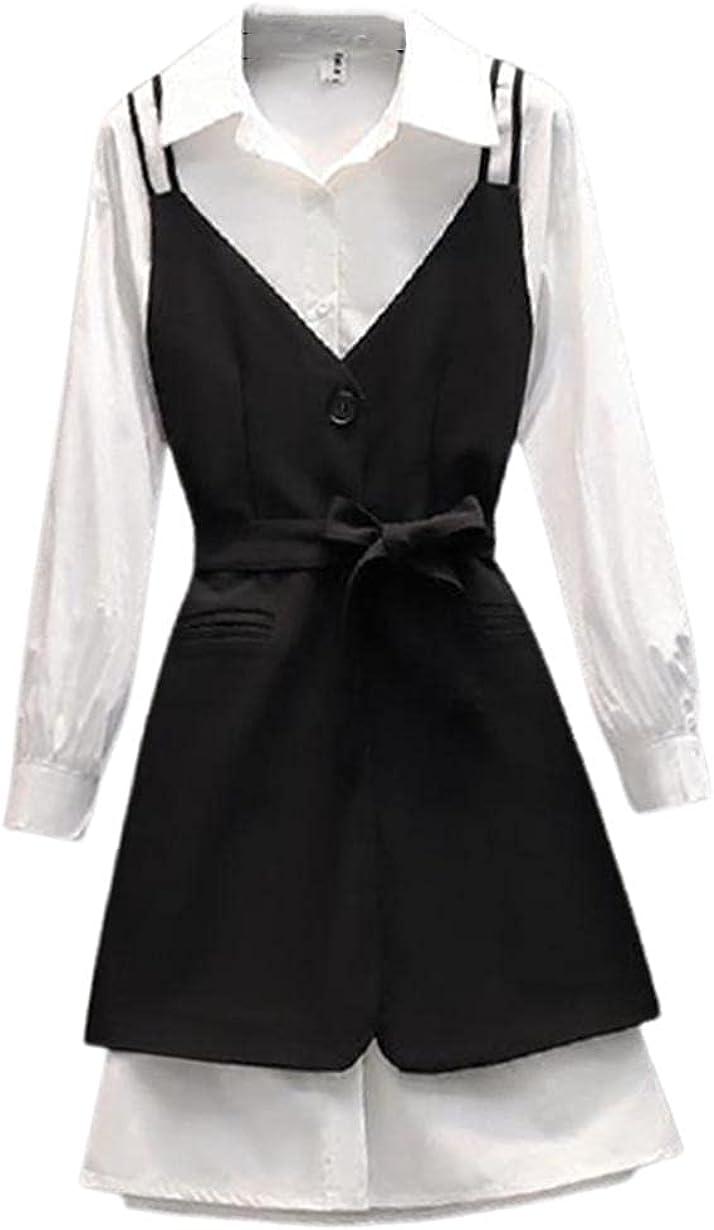 Plus Size Women Autumn 2 Pieces Set Women White Blouse Shirt Irregular Sling Vest Suit