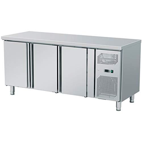 ZORRO - Kühltisch mit Füßen ZGN 3100-3 Türen - Gastro Zubereitungstisch mit Arbeitsfläche - R600A - Digitales Thermostat - Umluftkühlung mit Ventilator - Kühlschrank