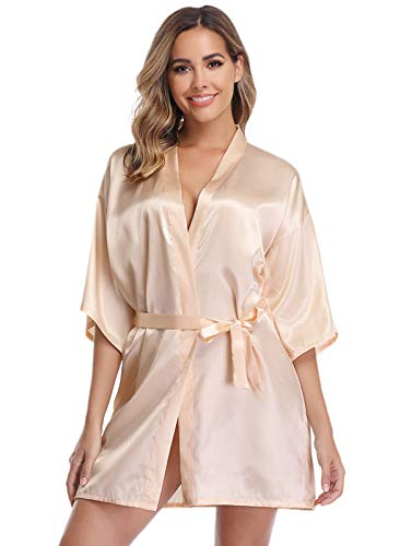 Vlazom Women Kimono Robes Satin Dressing Gown Short Silk Bridal/Bridesmaid Robe Nightwear with Oblique V-Neck (Beige, Large)