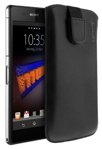 mumbi Echt Ledertasche kompatibel mit Sony Xperia Z2 Hülle Leder Tasche Case Wallet, schwarz