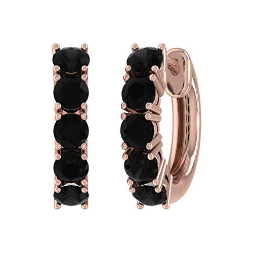 1 Carat Black Diamond Hoop Earrings in 10K Rose Gold