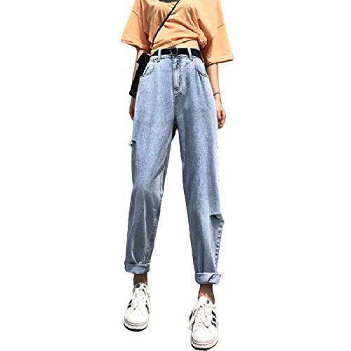 Pantalones Cortos de Mezclilla Plisados Micro de Cintura Alta para Mujer Pantalones Vaqueros Anchos Lavados relajados y Rasgados de Moda Casual XXL
