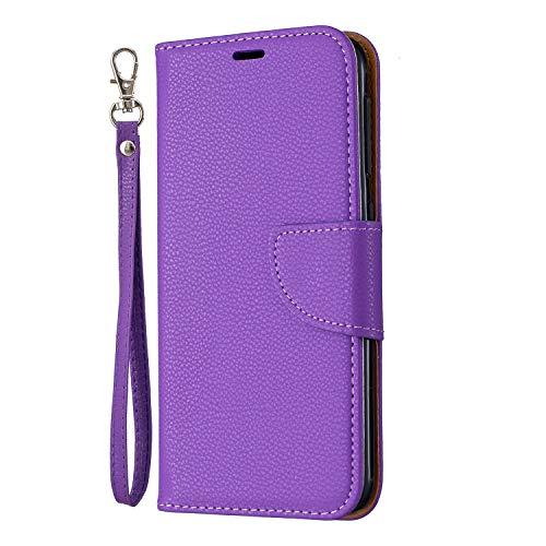 Docrax Handyhülle Lederhülle für Galaxy A10E, Flip Case Schutzhülle Hülle mit Standfunktion Kartenfach Magnet Brieftasche für Samsung Galaxy A10E - DOBFE130453 Violett
