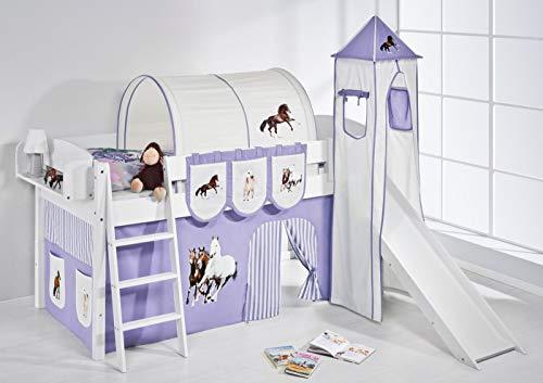 Lilokids Spielbett IDA 4105 Pferde Lila Beige-Teilbares Systemhochbett weiß-mit Turm, Rutsche und Vorhang Kinderbett, Holz, 208 x 220 x 185 cm